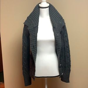 Charcoal Grey Button Up Sweater - M